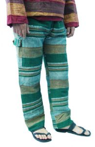 Hippy Trousers Unisex~Ethnic Stripey Cotton Cargo Trousers - Thicker Material~Fair Trade By Folio Gothic Hippy FX325